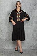 Şans Kadın Siyah Nakış Detaylı Viskon Elbise 65N22608
