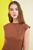 TRENDYOLMİLLA Camel Kolsuz Fitilli Örme Elbise TWOSS21EL0808