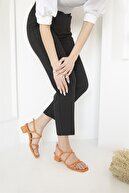 Straswans Kadın Oranj Topuklu Küt Burun Deri Sandalet