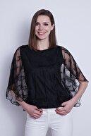Jument Kadın Siyah Tül Detaylı Kayık Yaka  Bluz