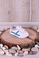 Akıllı Şirin Bebek Beyaz Ortopedik Fermuarlı İlk Adım Unisex İlk Adım Ayakkabısı