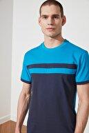 TRENDYOL MAN Lacivert Erkek Slim Fit Kısa Kollu Panelli T-Shirt TMNSS21TS0427