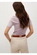 Mango Kadın Pastel Mor Bluz
