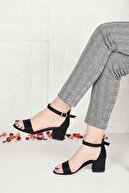 Weynes Kadın Siyah Süet Tek Bant Kalın Topuklu Ayakkabı Ba20516
