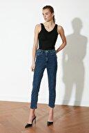 TRENDYOLMİLLA Lacivert  Yıkama Efektli Yüksek Bel Slim Fit Jeans TWOSS21JE0018