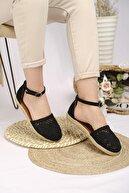 Oksit Kadın Siyah Flr Dantel Motifli Sandalet