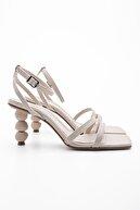 Marjin Kadın Bej Topuklu Sandalet Bople