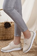 Odal Shoes Kadın Bej  Detaylı Casual Ayakkabı