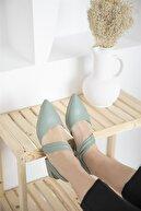 Straswans Kadın Topuklu Deri Sandalet Yeşil