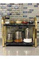imalattanevinize Masa Üstü Düzenleyici Organizer Mutfak - Banyo Rafı Kitaplık Gold