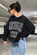 Madmext Mad Girls Siyah Kadın Sweatshirt Mg922