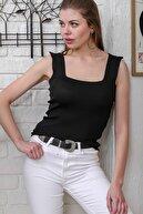 Chiccy Kadın Siyah Kare Yaka Triko Bluz M10010200BL95565