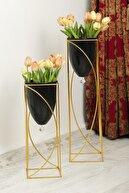 MHK Collection Metal Siyah Dekoratif Ayaklı Saksı,2'li Gold Ayaklı Saksı,dekoratif Saksı,vazo