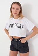 Addax Yazı Detaylı Kısa T-shirt P12230 - Y2