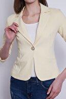 Jument Kadın Sarı Süs Cepli Kapri Kol Düğmeli Blazer Mono Kısa Ceket