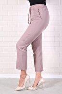 Essah Moda Kadın Lila Lastikli Havuç Pantolon - Me000320