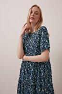 Gusto Çıtır Çiçekli Uzun Pamuklu Elbise - Mavi