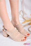 Öncerler Ayakkabı Kadın Ten Süet Kafesli Kadın Topuklu Ayakkabı