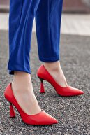 Daxtors Kadın Kırmızı Günlük Klasik Topuklu Ayakkabı D2053