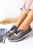Lal Shoes & Bags Kadın Gri Areca Parlak Ayakkabı