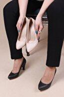 Platin Kadın Alçak Topuk Siyah Stiletto