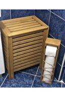 Teknik Ahşap Emprenyeli Çam Ağacı Hazneli Tuvalet Kağıdı Standı