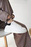 Straswans Kadın Beyaz-siyah Süet Spor Ayakkabı