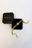 Marjin Kadın Zirkon Taşlı Kalın Zincirli Altın Renkli Bileklikaltın