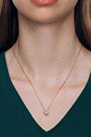 Valori Jewels 0.75 Karat Swarovski Zirkon Beyaz Kalp Taşlı Altın Rengi Gümüş Kolye
