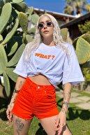 SwistLuxury Kadın Beyaz What Baskılı Bisiklet Yaka Tshirt