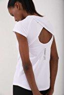 Tommy Life Kadın Beyaz Bisiklet Yaka Arka Yazı Detaylı Spor T-shirt 97101-02