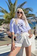 SwistLuxury Kadın Beyaz Uzay Baskılı Bisiklet Yaka Tshirt