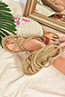 Fox Shoes Kadın Altın Renk Kumaş Sandalet F470135104