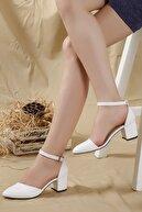 LENAY Kadın Beyaz-cilt Karnı Yarık Bilekten Bantlı Topuklu Ayakkabı ...