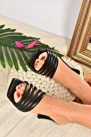 Fox Shoes Kadın Siyah Suni Deri Topuklu Terlik K494566309