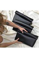 ETDesignBags Kadın Siyah Suni Deri Clutch Çanta