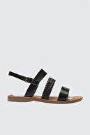 Trendyol Shoes Siyah Hakiki Deri Bantlı Kadın Sandalet TAKSS21SD0012