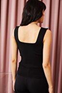 Kırçiçek Kalın Askılı Kare Yaka Yazlık Crop Bluz - Siyah