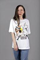 YELLOWSTONE BASİC Kadın Looney Tunes Baskılı Oversize Beyaz Tişört