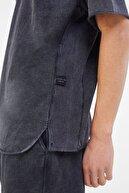 Bershka Erkek Gri Soluk Efektli Pamuklu T-Shirt 02406240
