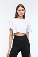 AWDO Nairobi Kadın Basic Bisiklet Yaka Crop Top Tişört Kadın Beyaz Crop Tişört Beyaz Kadın Tişört