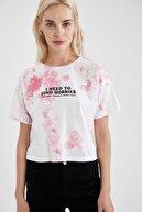 Defacto Kadın Pembe Slogan Baskılı Relax Fit Kısa Kollu Tişört