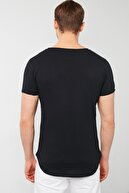 Buratti Erkek Siyah Pamuklu Bisiklet Yaka Cepli T-Shirt
