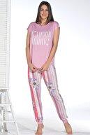 Sevim Kadın Pembe Baskılı Pijama Takım 12895