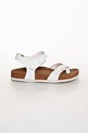 meyra'nın ayakkabıları Beyaz Çift Toka Sandalet