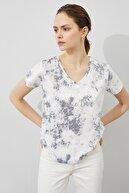 Koton Kadın Gri Desenli T-Shirt 1YAK13432OK