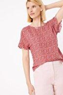 Marks & Spencer Kadın Pembe Çiçek Desenli Kısa Kollu Bluz T43005999