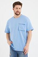 Cocers Erkek Mavi Oversize Körük Cepli T-shirt