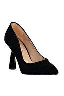 Soho Exclusive Siyah Süet Kadın Klasik Topuklu Ayakkabı 15783