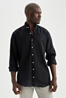 Defacto Modern Fit Keten Karışımlı Uzun Kollu Gömlek